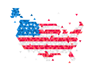 EE.UU Map usa map triangle vintage sketch illustration