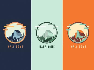 Half Dome yosemite logo color icon typography badge design graphic vector illustration