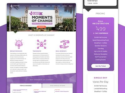 Moments of Change Landing Page design icons banner responsive landing page mobile desktop web homepage web design