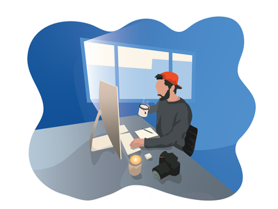 WFH home vector illustration vector art wfh working people vector illustration