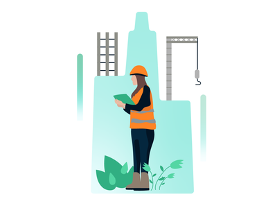 Construction Illustration construction company infographic city builder building illustrator illustration women construction