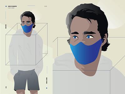 Mask portrait cube form shape hairstyle sweatshirt man hair person eyes face mask facemask vector illustration illustrator