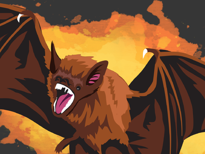 Desmodus Rotundus halloween vampire teeth fur illustration splatter wings vector animal bat