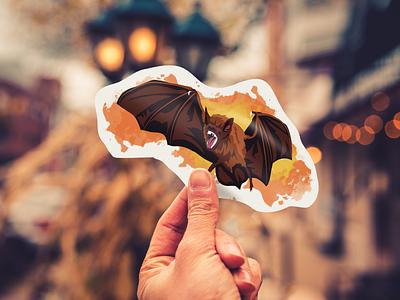 Desmodus Rotundus Sticker halloween vampire teeth fur illustration splatter wings vector animal bat sticker