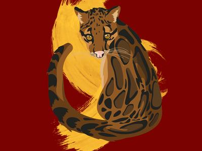 Neofelis nebulosa spots illustration vector splatter animal wild leopard cat
