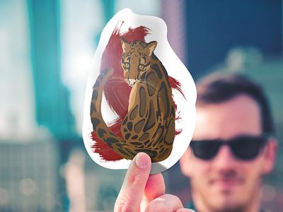 Neofelis nebulosa sticker ad display mockup cat wild illustration vector sticker animal