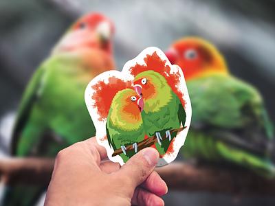 Agapornis Sticker vector feather splatter illustration animal valentine love bird