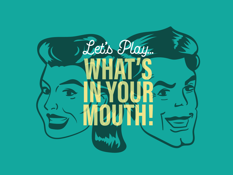 What's In Your Mouth! title hair smile drawing gameshow games illustration retro vintage people faces