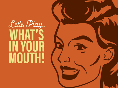 Let's Play What's in Your Mouth V2 smile title intro shine hair face drawing retro illustration vintage mouth