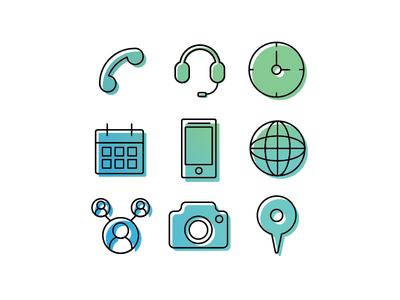 Office Icon Study 1 social pin branding design branding office design photo camera internet website phone icon office time clock headset phone