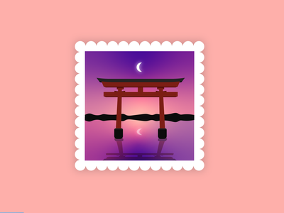 Japan Stamp reflect japanese postage travel reflection sunset moon arcade archer stamp japan