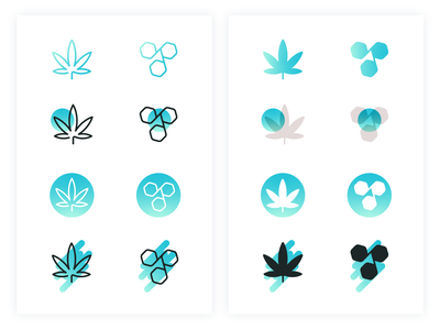 Medical Marijuana Icons minimalism vector illustration icon style minimal gradient teal iconography icon set science cannabis logo cannabis marijuana