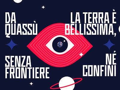 L'occhio di Gagarin - Gagarin's eye design bounderies flat illustration stars earth eye vostok quote space gagarin