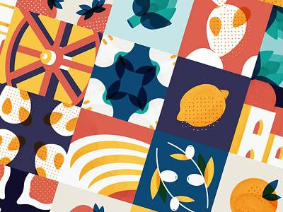 Sicilian Tiles Illustration plants piante frutta caltagirone siciliano carretto sicily fruits illustration color piastrella tile
