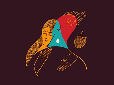 L'abbraccio di Minerva illustrazione dedellaconoscenza rabbia ira vs atena hug abbraccio