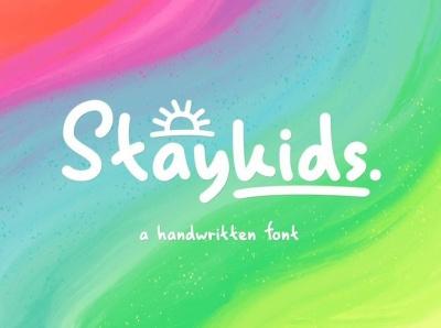 Stay Kids - Handwritten Font doodle magazine branding dingbats quotable quotes halloween food book handwritting child font logo casual kids bold comic handwritten