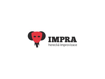 Impra / Improvisational Theatre Group impra improvisation theatre logo branding elephant mask animal vector illustration design