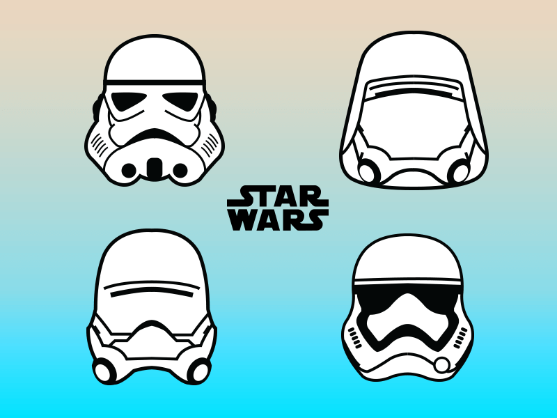Stormtroopers force awakens star wars vector illustration illustrator tribute movie film helmets stormtroopers malaysia