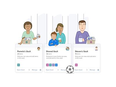 Familes Ilustration - 1Password vault 1password wallpaper basket simple family illustration graphic