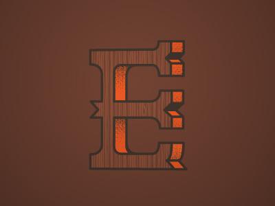 E lettering letter typography wood grain half tone