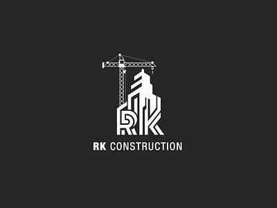 RK Construction Logo logodesign vector aesthetic minimal brand design branding logo housing construction renovation