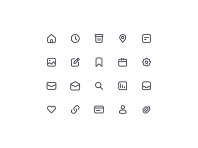 Essential Icons V01 link love like attachment mail inbox gallery editorial time home delete location search navigation bar navigation essential icons essential icon design iconography icon
