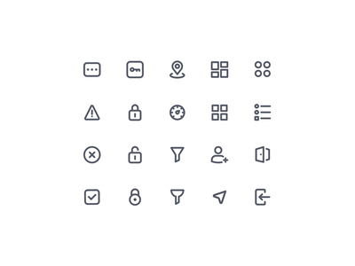 Essential Icons V02 icons iconography lock add exit sorting filter success cancel error location password dashboard navigation ui icon set icon design icon