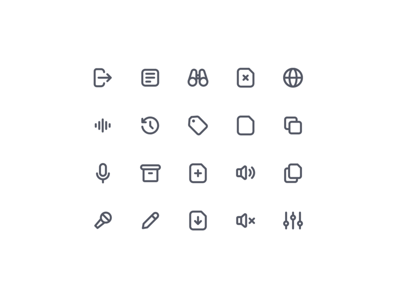 Essential Icons V03 paste download box tag add mute sound microphone voice history exit view network copy icon set icons set iconset icons icon