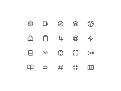 Essential Icons V04 material circular setting note breifcase reading guidebook charge battery hashtag map full screen guide earth icon set iconset icons icon