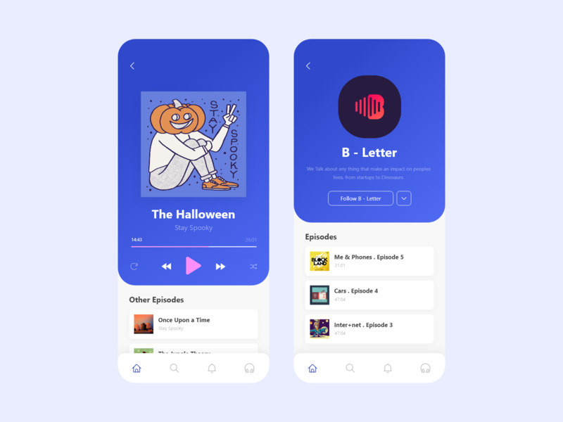 Media Library - Podcast Player & Profile music player player profile podcast media library userinterface ios design adobe xd music app ux ui