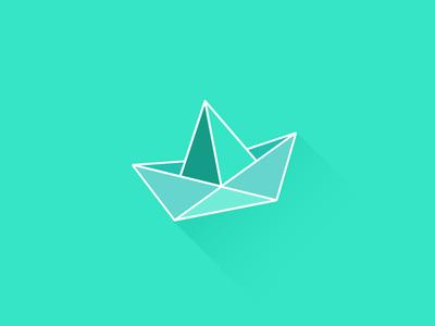 Boat origami illustration color boat green origami flat