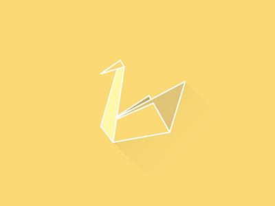 Swan origami illustration color swan yellow origami flat