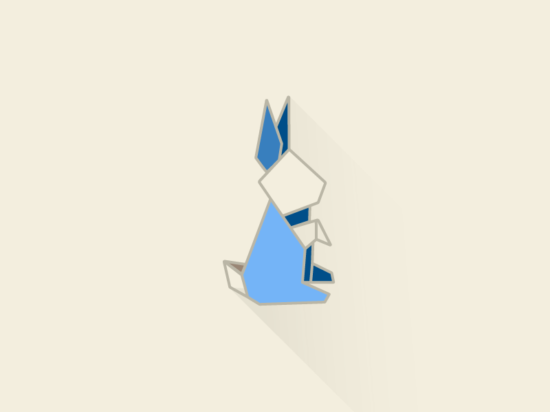 Rabbit origami illustration color rabbit blue origami flat
