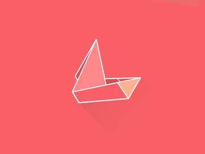 Boat origami illustration color boat pink red origami flat