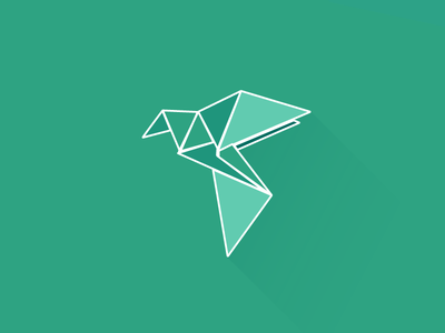 Bird origami illustration color bird green origami flat