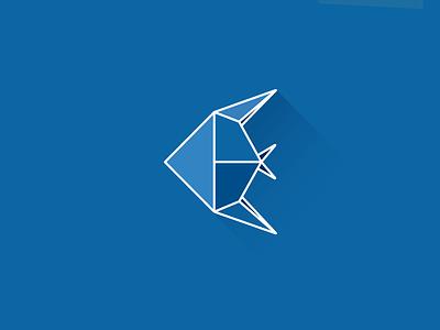 Fish origami illustration color fish blue origami flat