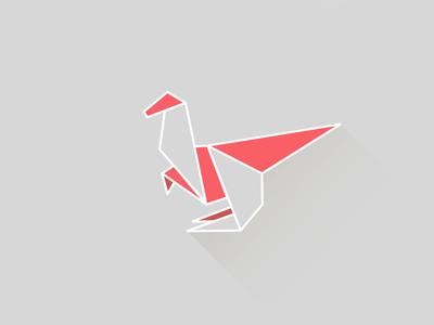 Dinosaur illustration color dinosaur red grey origami flat