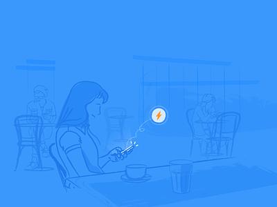 Liquid 2.0 illustrations automation marketing growth white blue app mobile illustration liquid