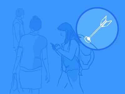 Liquid 2.0 illustrations target users liquid mobile app blue white growth marketing automation illustration