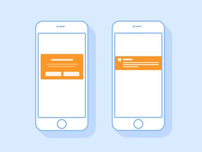 Notifications liquid orange blue push-notification in-app message mobile illustration