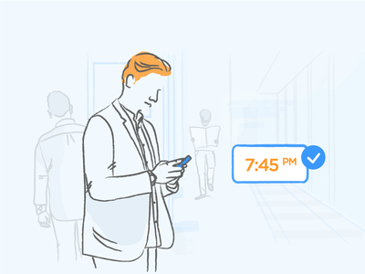 User Retention retention orange blue liquid push-notification mobile illustration