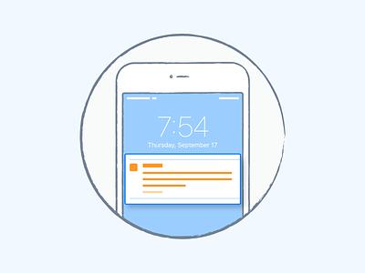 Push-notification retention orange blue liquid push-notification phone mobile illustration