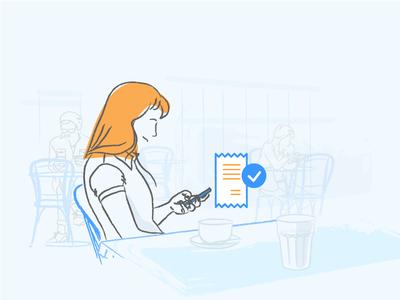 User base growth automation orange blue liquid in-app message mobile illustration
