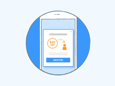 In-app message orange blue liquid in-app message phone mobile illustration