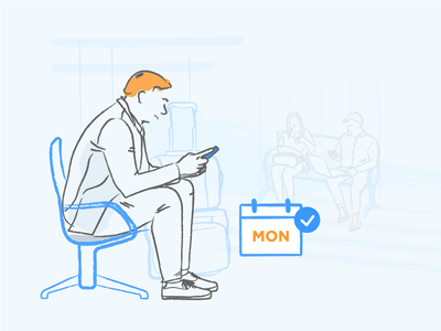 App Monetization conversion monetization in-app message orange blue mobile liquid illustration