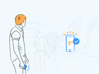 User engagement phone user engagement e-mail orange blue mobile liquid illustration