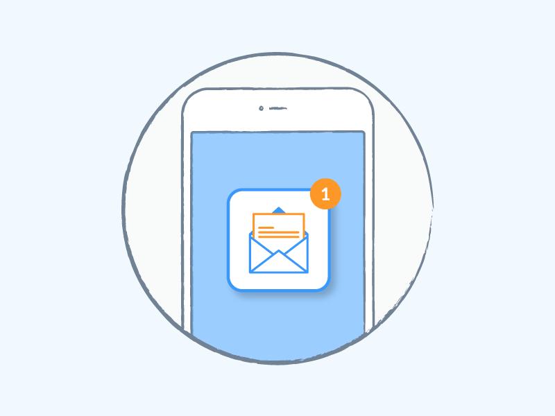 E-mail notification e-mail phone orange blue mobile liquid illustration