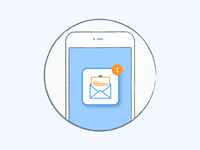 E-mail notification e-mail phone orange blue mobile liquid illustration