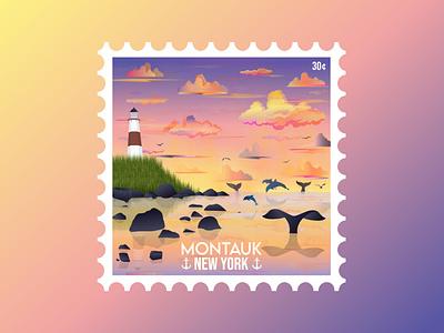 Montauk Stamp illustration dolphins whales summer lighthouse sunset beach montauk