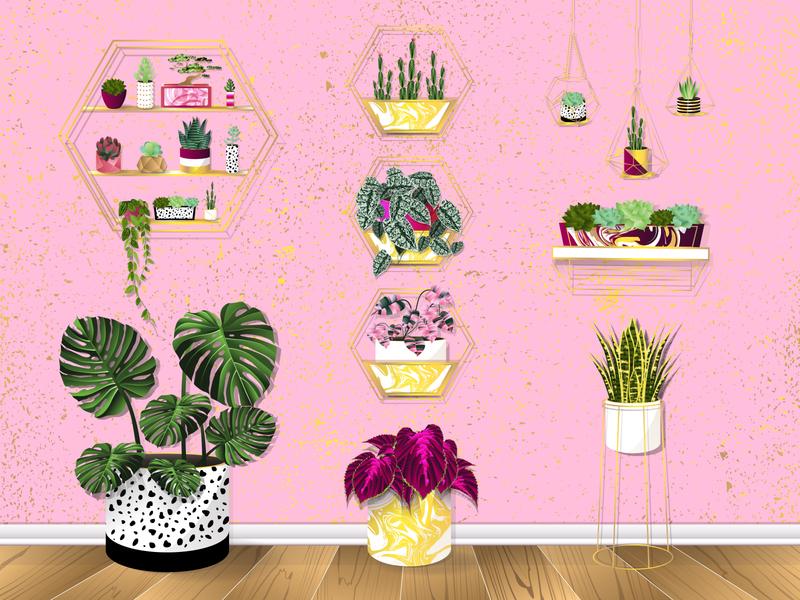 Trendy House Plants monstera leaves trendy room wood floor wallpaper pink gold cactus succulents house plants plants